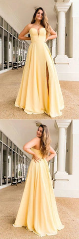 Simple yellow satin long prom dress yellow formal dress,5016