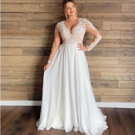Plus Size Wedding Dress V Neck Lace Appliques Long Sleeve Illusion,5019