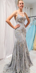 Elegant Mermaid Gray Long Prom/Evening Dress With Open Back,5020