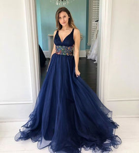 Dark blue v neck tulle long prom dress, evening dress ,5022