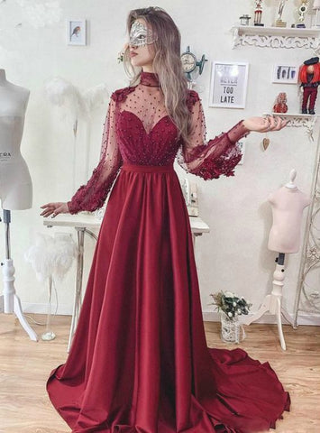 A-Line Burgundy High Neck Long Sleeve Prom Dress,5024