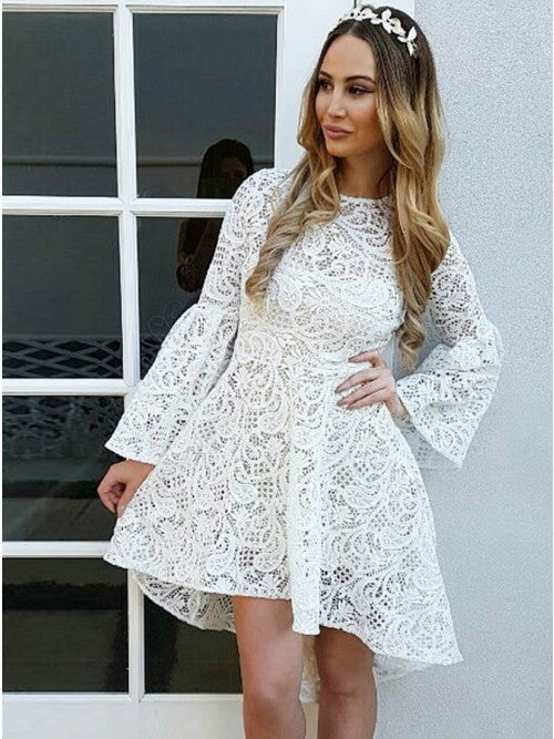 A-Line Jewel Flare Sleeves White Lace Homecoming Dress,5035