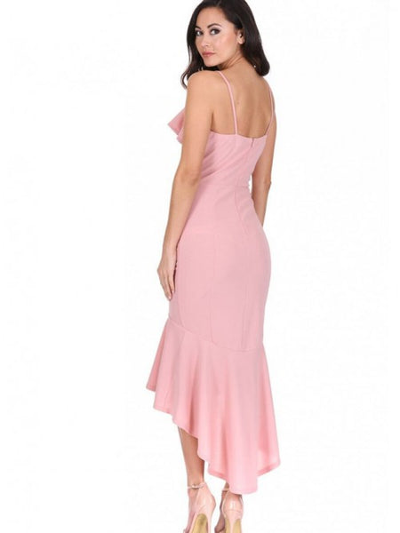 Sheath Spaghetti Straps High Low Pink Homecoming Dress with Ruffles,5039