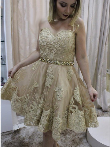 Sweetheart Gold Beaded Short Homecoming Dress with Appliques,5113
