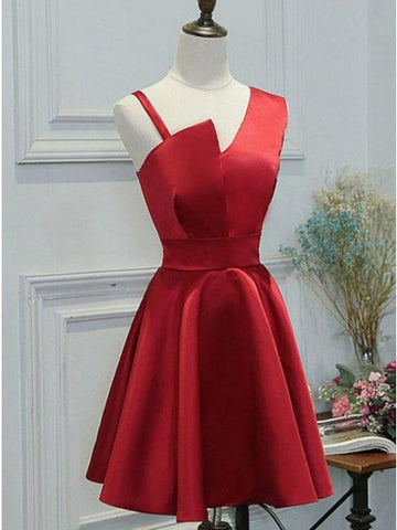 A-Line One Shoulder Sleeveless Red Short Homecoming Dress,5125