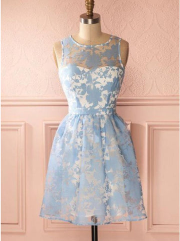 A-Line Round Neck Keyhole Back Blue Homecoming Dress with Lace,5128