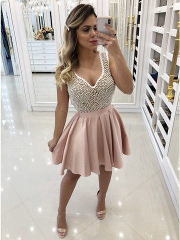 A-Line V-Neck Pink Homecoming Prom Dress with Beading,5131