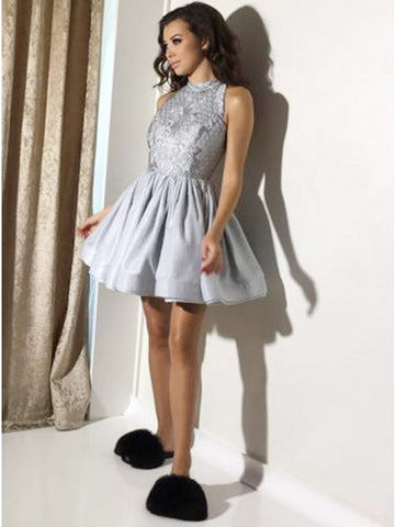 A-Line Jewel Open Back Grey Satin Homecoming Dress with Lace,5134