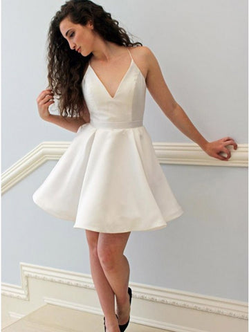 A-Line V-Neck Backless White Satin Short Homecoming Dress,5138