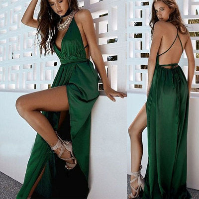 Sexy V Neck Green Convertible Prom Dresses,5157