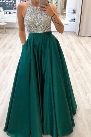 Halter Sparkly Long Prom Dresses with Pockets ,5160