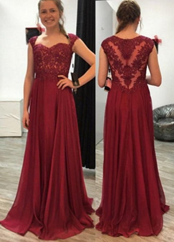 Burgundy Chiffon Long Prom Dresses with Appliques,5161