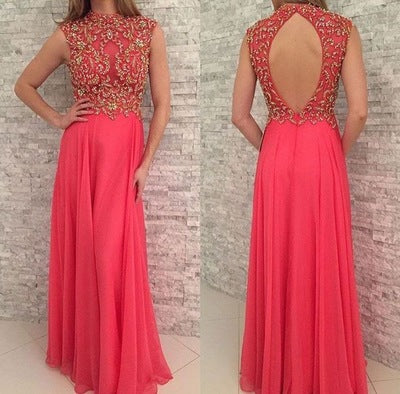 Coral Backless Long Prom Dresses with Rhinestones.5162