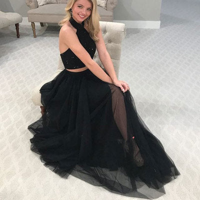 2 Piece Black Split Tulle Prom Dresses with Beaded,5183