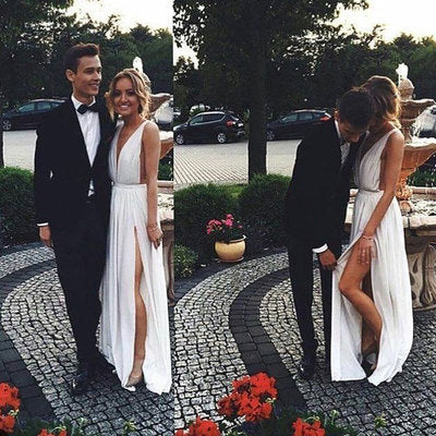 Deep V Neck White Split Side Prom Dresses,5186