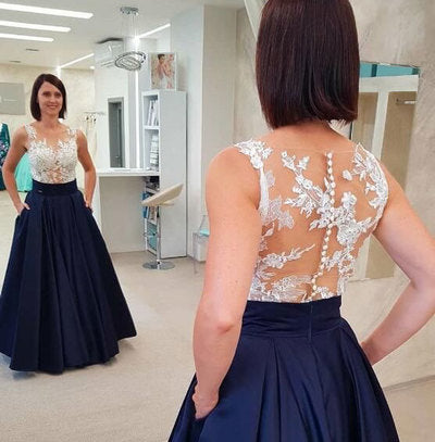 Elegant Dark Navy Long Prom Dresses with Pockets,5187
