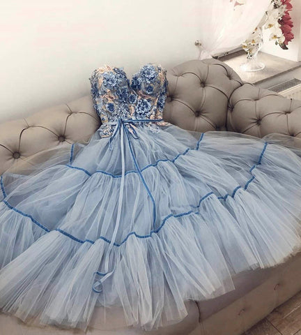 BLUE TULLE LACE SHORT PROM DRESS HOCO DRESS,5194