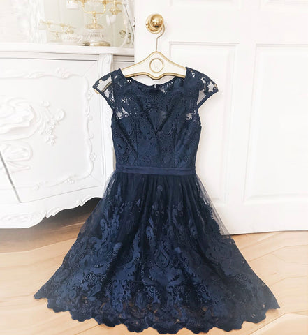 BLUE LACE SHORT PROM DRESS HOMECOMING DRESS ,5197