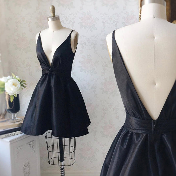 BLACK SATIN SHORT PROM DRESS PARTY DRESS,5198