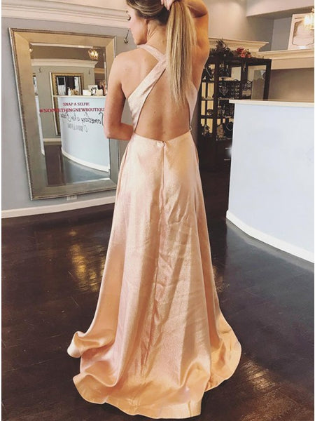 Stylish V-neck Pink Floor-Length Criss-Cross Prom Party Dress,5210
