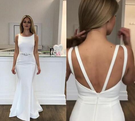 Scoop Zipper Backless Formal Dress Beaded Sash Sleeveless Evening Prom Gowns,5211