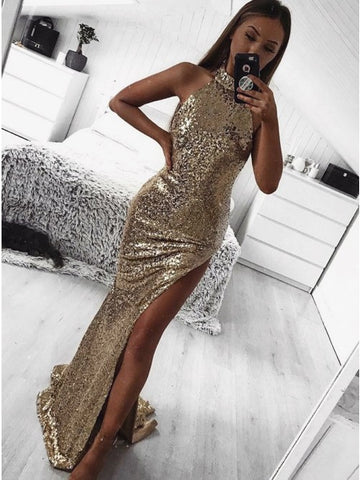 Sparkle High Neck Sleeveless Split Gold Sweep Train Prom Evening Dress,5212