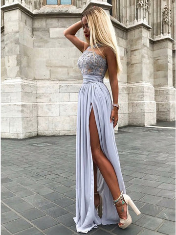 Fancy Grey Sleeveless Split Prom Evening Dress with Appliques,5213