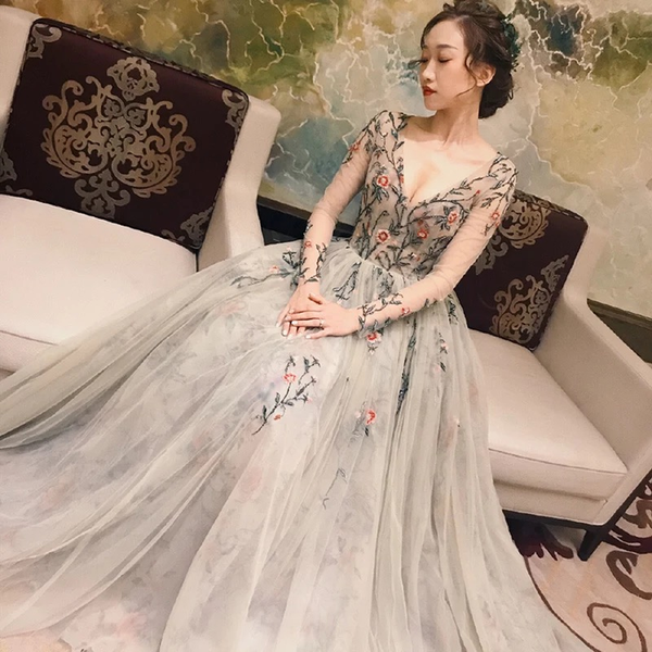 Fairy Long Sleeve Prom Dresses V-neck A-line Embroidery Prom Dress Long Evening Dress,5214