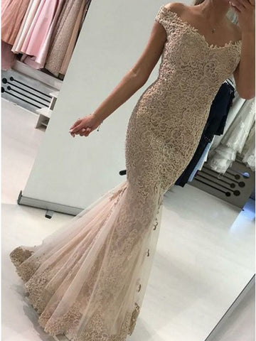 Mermaid Off Shoulder Champagne Lace Prom Evening Dress with Train,5215
