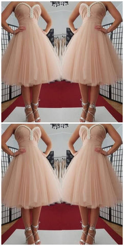Sweetheart neckline Tulle Pink Short Homecoming Dress,5225