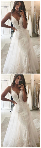 length women dresses v-neck tulle floor length party dress applique lace special wedding dresses,5243