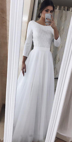 Sparkle Long Sleeve V Back White Tulle Wedding Dress,5257