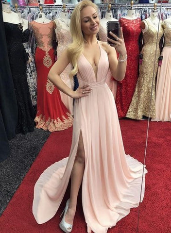 Sexy V neck Pink Chiffon Slit Prom Dress, Open Back Evening Dress,5280