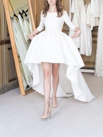 High Low White Long Wedding Dress, Bride Dress,5281