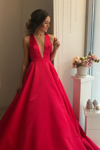 Halter V neck Red Evening Dress, Formal Prom Dresses,5300