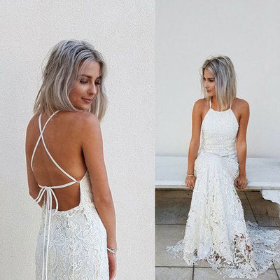 Sexy Backless Lace Mermaid Prom Dress Wedding Dress,5312