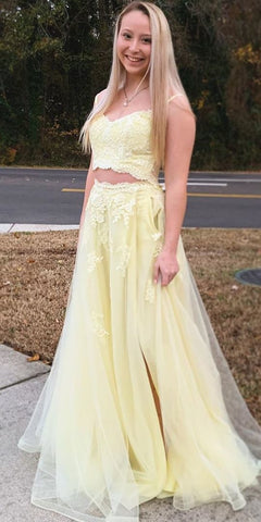 Stylish V neck Straps Two Piece Prom Dress, Yellow Appliques Homecoming Dress,5315