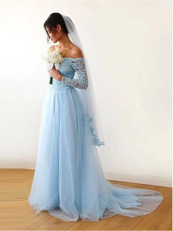 Long Sleeve Lace Prom Dress Blue Wedding Dresses,5321