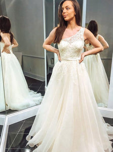 Appliques Ivory One Shoulder Tulle Long Wedding Dress,5343