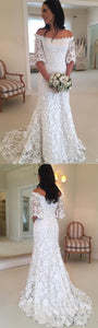 Half Sleeve White Lace Mermaid Wedding Dresses.5376