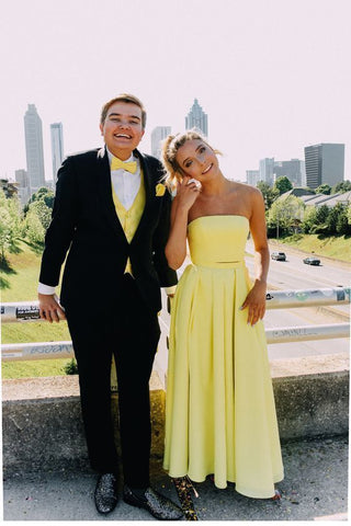 Yellow Strapless Long Prom Dress, A Line Formal Prom Dresses.5392