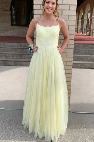 Sexy Sleeveless Yellow Appliques A Line Prom Dress Homecoming Dress,5409