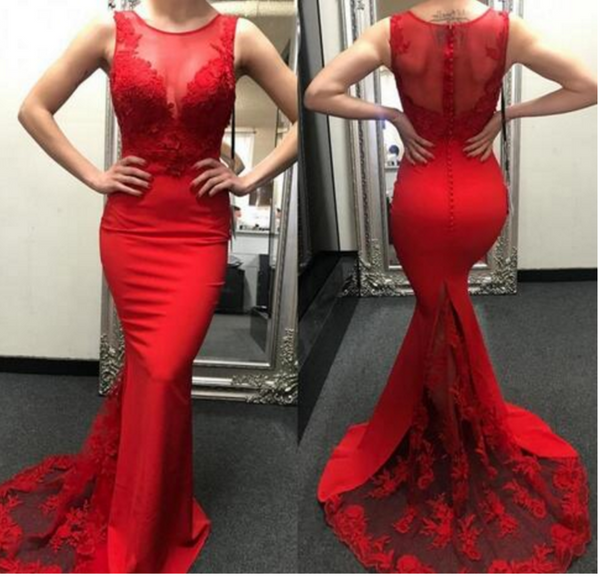 Charming Prom Dress, Sexy Red Mermaid Prom Dresses with Appliques, Lace Evening Dress,5462