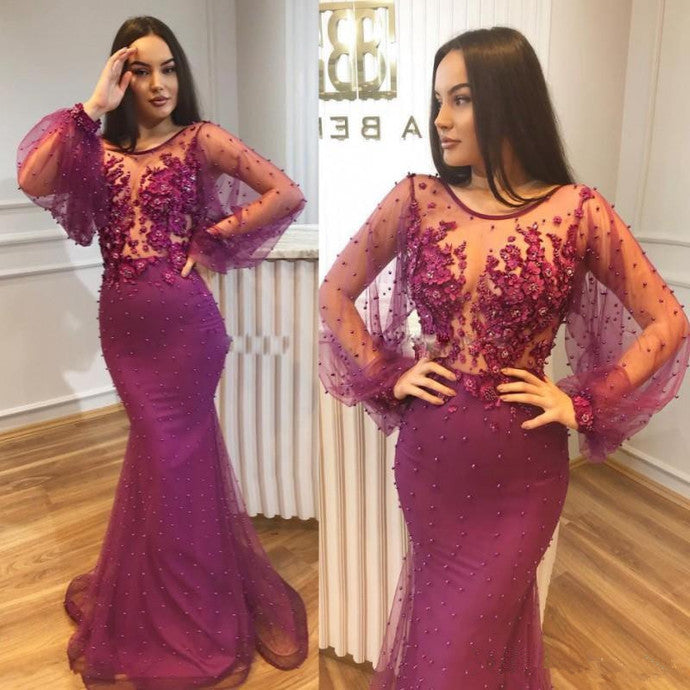 Sexy Mermaid Prom Dresses Illusion Neckline Long Sleeves 3D Applique Beaded Evening Dress Celebrity Prom Party Gowns,5517