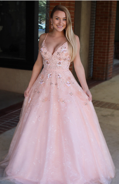 Princess Straps Pink Long Prom Dress Sweet 16 Dress,5518
