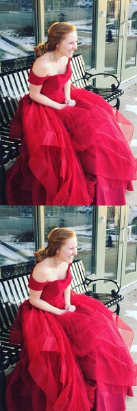 Simple Off the Shoulder Organza Red Prom Dresses Evening Dresses,5519
