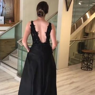 Charming Prom Dress, A Line Black Appliques Prom Dresses, Long Evening Dress,5522