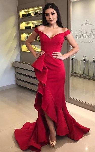 Off the Shoulder Bright Red Evening Dress with Side Cascade Slit,5524