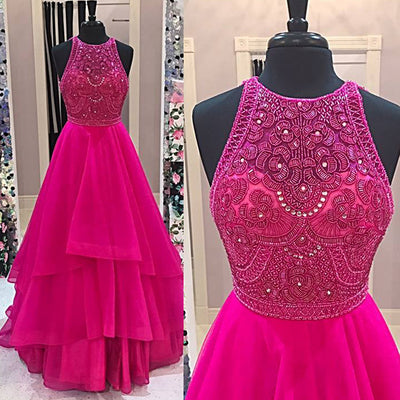 Sparkly Beaded Bodice Fuchsia Prom Dresses,Fashion Prom Dress,Sexy Party Dress,Custom Made Evening Dress,5527
