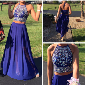 Beaded Top Chiffon Skirt 2 Pieces Prom Dress,Fashion Prom Dress,Sexy Party Dress,Custom Made Evening Dress,5528